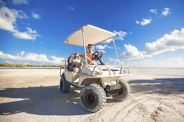 GOLF CART ON BEACH