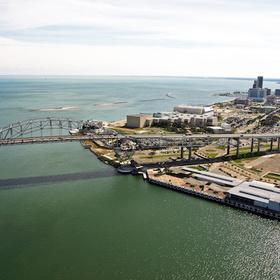 harbor bridge aerial