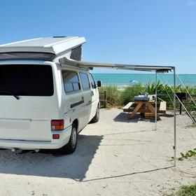 RV on the beach in Corpus Christi