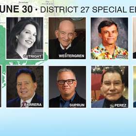 VOTE JUNE 30 IN DISTRICT 27 ELECTION