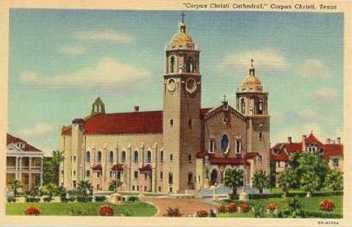 An old postcard of the Corpus Christi Cathedral.