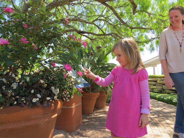 girl in xeriscape garden