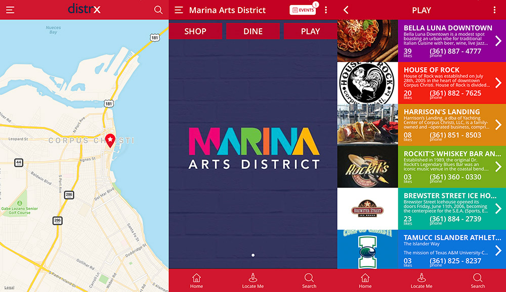The Marina Arts District has partnered with distrx, a new app that helps get visitors and locals alike to the best places to shop, dine and play in downtown Corpus Christi. Screenshots from the distrx app.